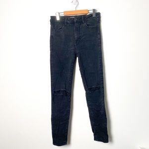 American Eagle Black Super Stretch Hi Rise Distressed Jegging Skinny Jeans